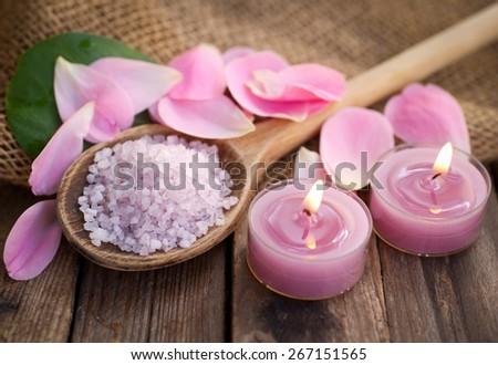Bath salt with candles - stock photo