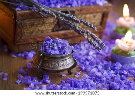 Bath salt with candles and lavender in vintage silver treasure-box - stock photo