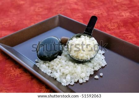 Bath Salts and Stones on Tray - stock photo