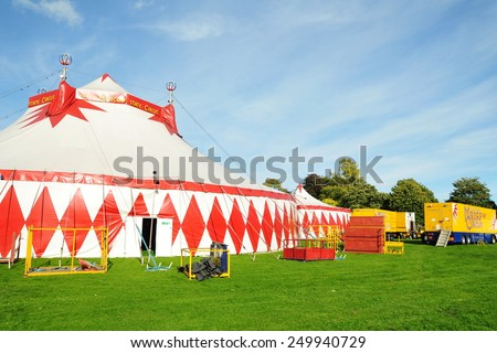 BATH - SEP 20: View of a marquee of the Moscow State Circus camped in Victora Park on Sep 20, 2010 in Bath, UK. The world famous circus is on the western european leg of its tour. - stock photo