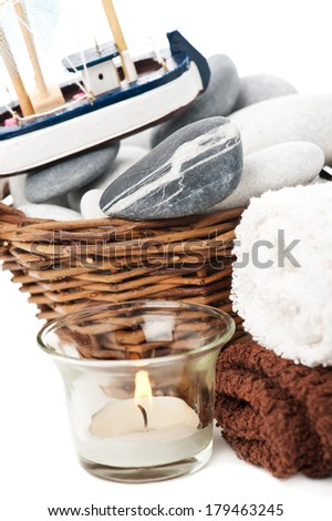 Bath set, towels, stones, candle - spa supplies  - stock photo