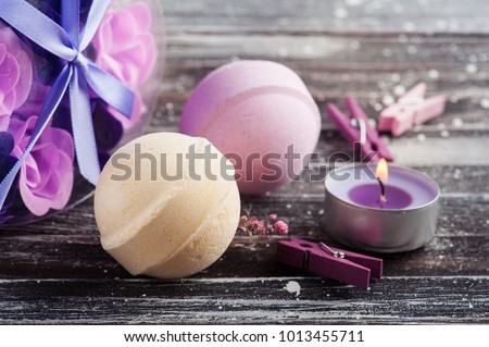 Bath Spa Accessories On Rustic Wooden Stock Photo (Royalty Free ...