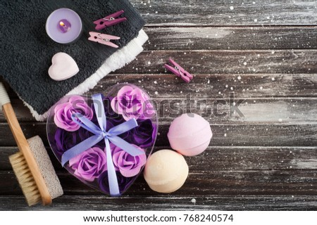 Bath Spa Accessories On Rustic Wooden Stock Photo 768240574 ...