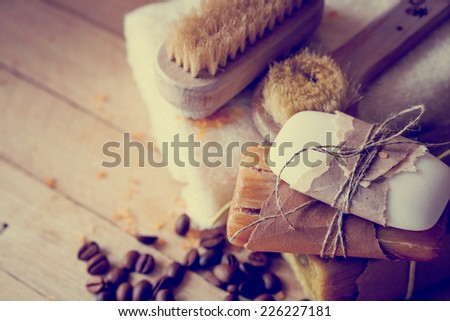 Bath spa setting with natural soaps and white towel in a sauna - stock photo