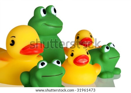 Bath Time Toys!  Three yellow rubber duckies and 3 green rubber frogs.  Isolated on white. - stock photo