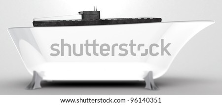 Bath top with submarine floating. - stock photo