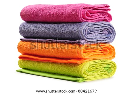 Bath towel. Isolated - stock photo