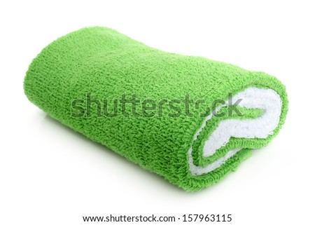 Bath towel on a white background - stock photo