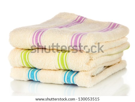 Bath towels isolated on white - stock photo