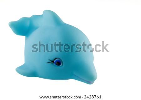 bath toy, light blue dolphin - stock photo