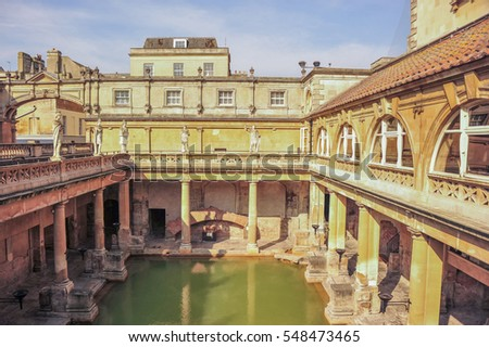 BATH, UK May, 2011: Inside View Of The Roman Baths Spa In Bath