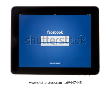 BATH, UK  - NOVEMBER 9, 2011: An Apple iPad showing the log in screen of the Facebook App, against a white background. The social media application is used to connect with friends and contacts online. - stock photo