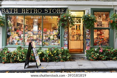 BATH, UK - OCT 18, 2015:View of a retro store on a city centre street. The Unesco World Heritage city in Somerset is famous for it shopping, attracting around 4 million visitors a year.  - stock photo