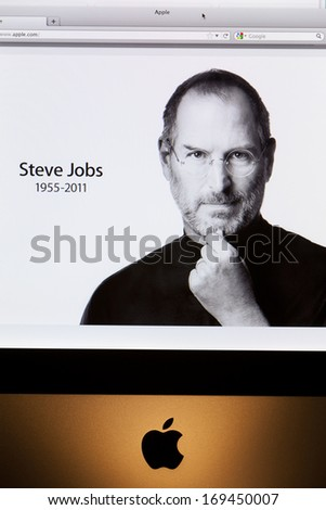 BATH, UK - OCTOBER 06, 2011:  Close-up of an Apple iMac computer displaying the www.apple.com front page tribute to former chief executive Steve Jobs, who died on 5th October 2011 aged 56