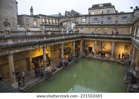 Bath, UK - October 30: View of the Roman Baths in Bath, UK on October 30, 2014. - stock photo
