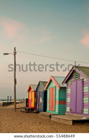 Bathing boxes at Brighton beach in Melbourne - stock photo