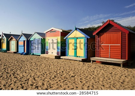 Bathing boxes at Brighton beach, Melbourne - stock photo