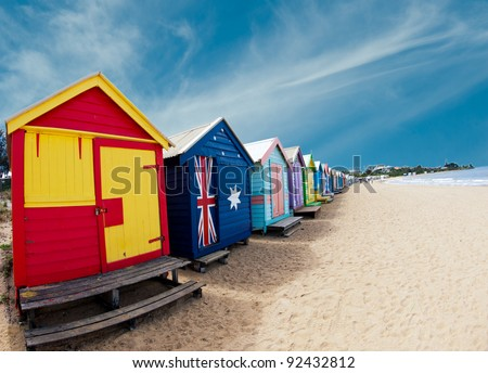 Bathing boxes on Brighton beach - Melbourne - Australia