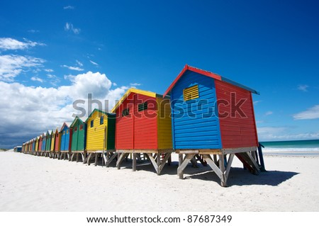 Bathing Boxes on Cape Town Beach - stock photo