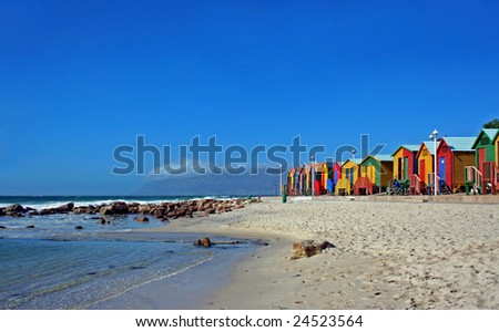 Bathing cabins at St. James, South Africa - stock photo