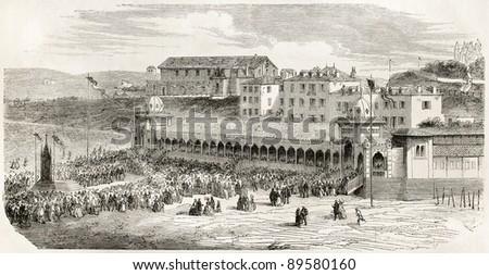 Bathing establishment in Biarrtitz. Created by Gaildrau after photo of De Bayonne, published on L'Illustration, Journal Universel, Paris, 1858 - stock photo