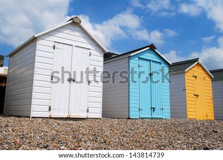 Bathing Huts, Seaton, Devonshire, England - stock photo