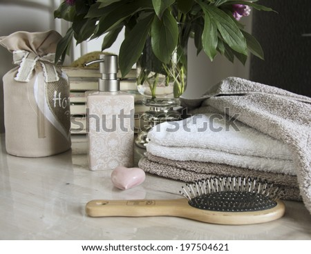 bathroom accessories and pampering, relaxing, still life