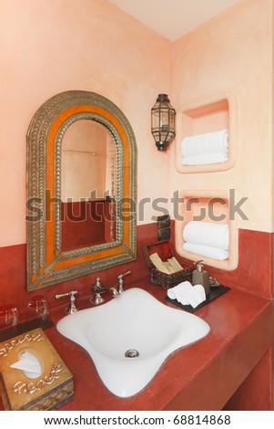 bathroom and basin,Morroco style - stock photo