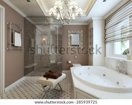 Bathroom Art Deco. 3d render - stock photo