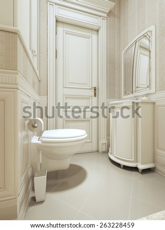 Bathroom art deco style. 3D render