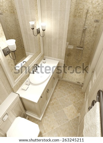 Bathroom avant-garde style, 3D render