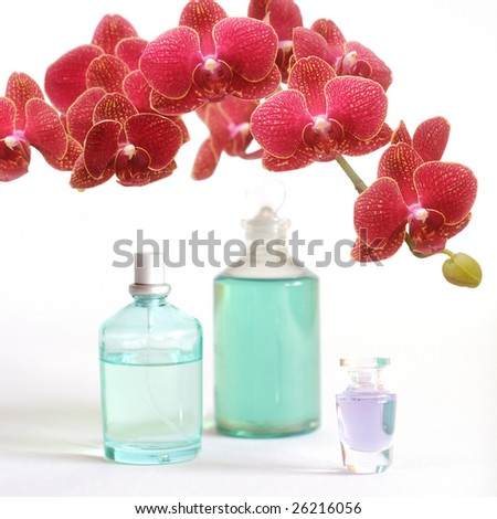 Bathroom beauty set with red orchid - stock photo