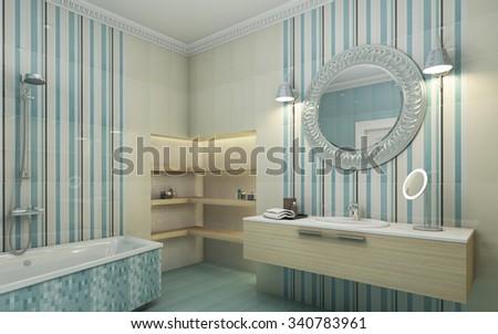 Bathroom Blue Tile Round Mirror 3d Rendering - stock photo