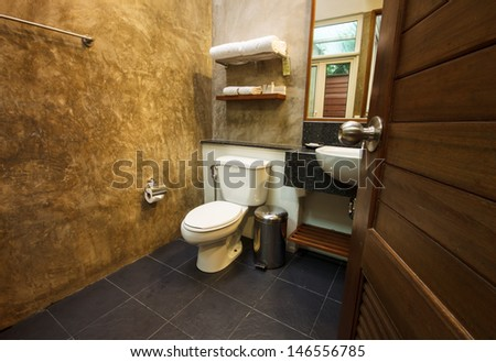 bathroom decoration of a boutique hotel  - stock photo