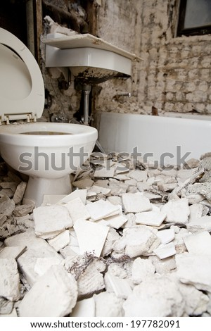Bathroom Demolition and Renovation - stock photo