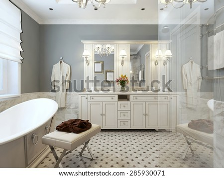 Bathroom Design Provence in blue and white colors. 3d render.