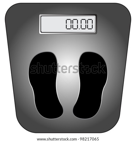 bathroom digital scale against white background, abstract art illustration - stock photo