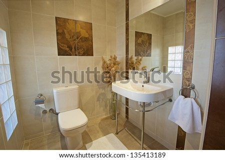 Bathroom in a luxury apartment show home showing interior design - stock photo