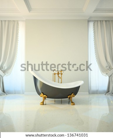 Bathroom in classic style - stock photo