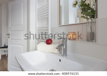 bathroom in holiday house  - stock photo
