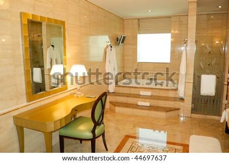 Bathroom in luxury hotel, Dubai, United Arab Emirates - stock photo