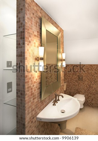 Bathroom in modern home - stock photo