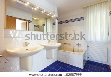 bathroom in style classical, two sinks - stock photo