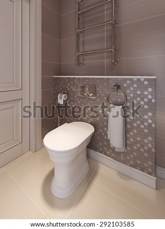 Bathroom in the neoclassical style. 3d visualization