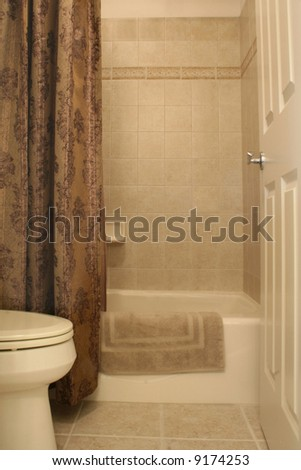 Bathroom in warm tones - stock photo