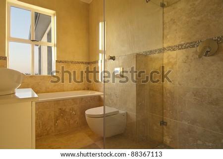 Bathroom inside a modern house - stock photo