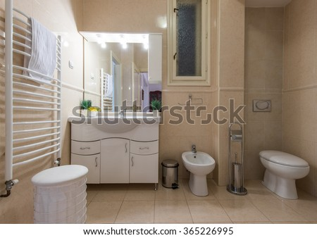 Bathroom interior , Comfortable bathroom in modern interior - stock photo