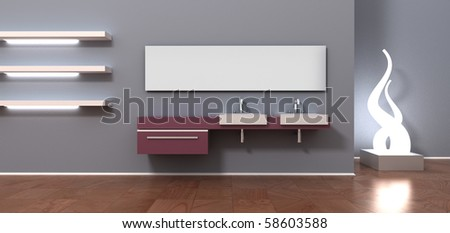 Bathroom interior design. Sink for 2 persons, mirror, creative lamp, empty white shelves, modern blue wall. 3d rendering. - stock photo