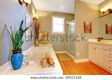 Bathroom interior design with green walls. - stock photo