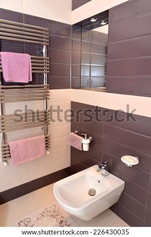 Bathroom interior fragment with the sanitary equipment - stock photo